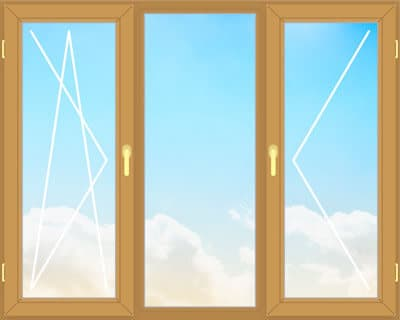Деревянное окно из сосны 230х160 см